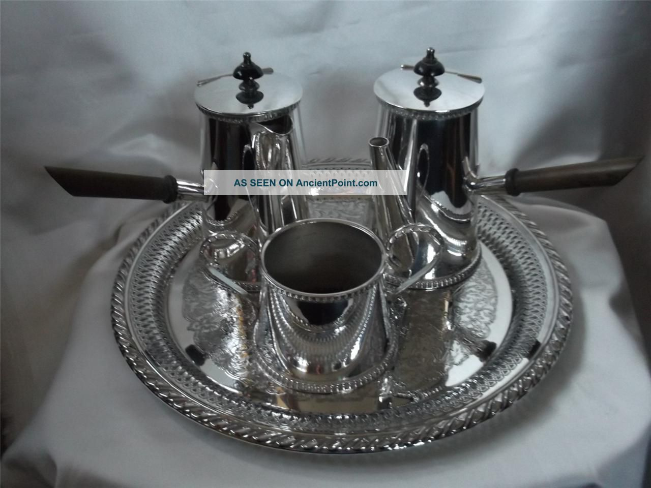 Stunning,  Vintage English Silver Plated ' Cafe Au Lait ' 4 Piece Hot Chocolate Set Other photo