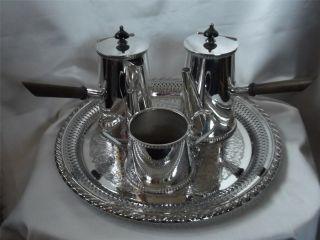 Stunning,  Vintage English Silver Plated ' Cafe Au Lait ' 4 Piece Hot Chocolate Set photo
