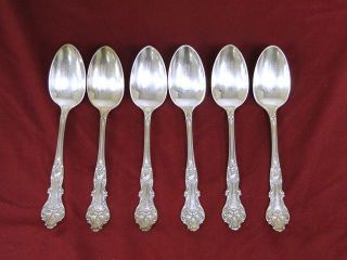 6 Lot Vintage 1847 Rogers Charter Oak Xs Quintuple Silver Plate Place Teaspoon photo