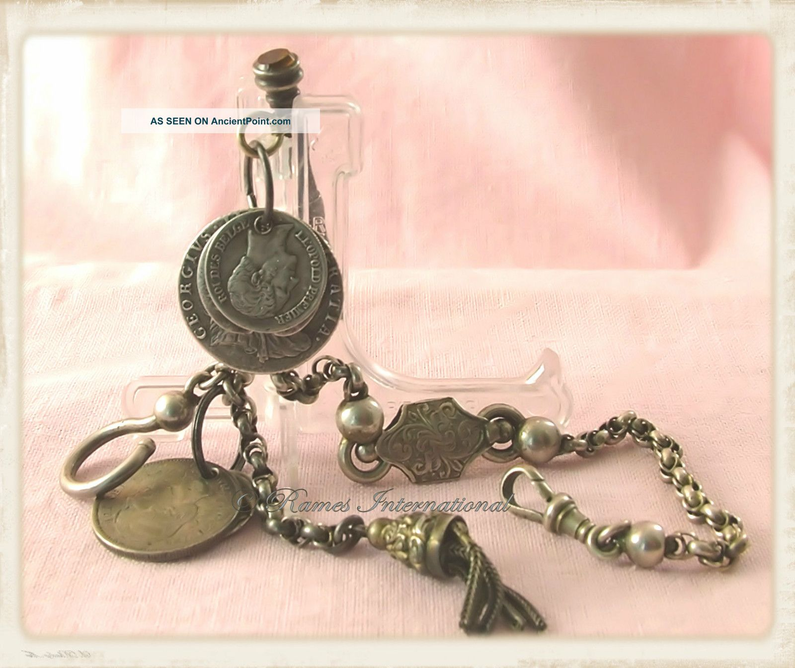 Victorian Silver Albertina Pocket Watch Fob Tassel Coins Chatelaine Pencil C1850 Pocket Watches/ Chains/ Fobs photo