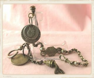 Victorian Silver Albertina Pocket Watch Fob Tassel Coins Chatelaine Pencil C1850 photo