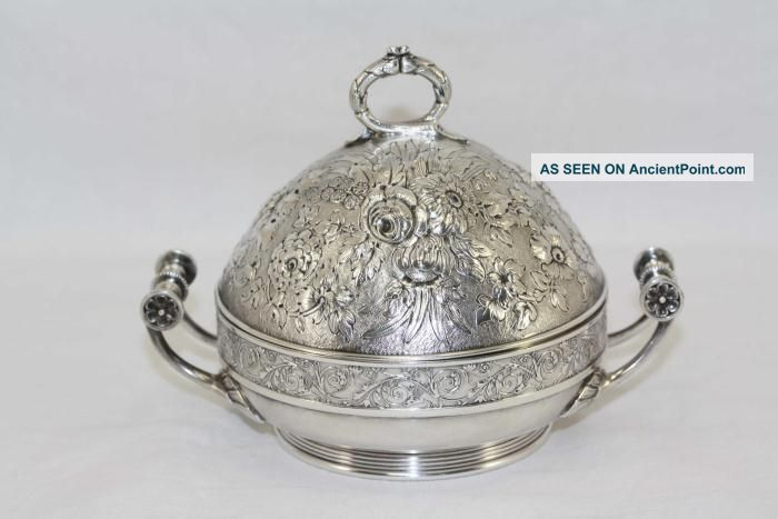 Antique Gorham Silverplate Floral Repousse Butter Server With Insert Lovely Butter Dishes photo