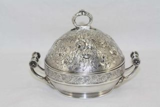 Antique Gorham Silverplate Floral Repousse Butter Server With Insert Lovely photo