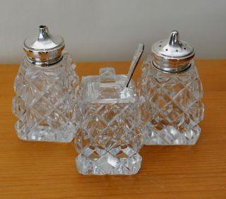 Art Deco Cut Glass & Silver Salt Pepper And Mustard Pot Hallmarked1939 photo
