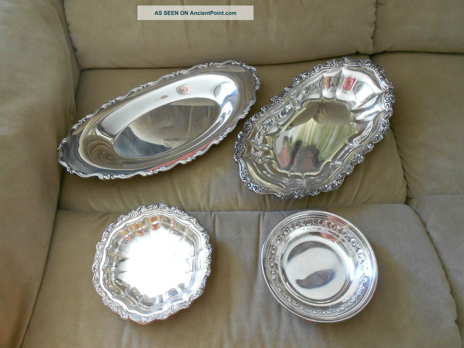 4 Vtg Silverplate Items: 2 Bread/cake Trays; 2 Dishes Platters & Trays photo
