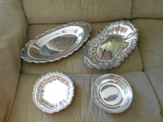 4 Vtg Silverplate Items: 2 Bread/cake Trays; 2 Dishes photo