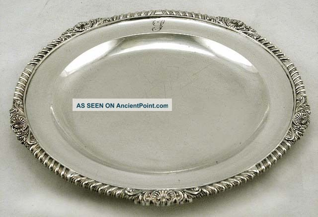 English Sterling Silver Shell & Scroll Dinner Plate 1818 Robt Hennell 28oz Plates & Chargers photo