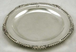 English Sterling Silver Shell & Scroll Dinner Plate 1818 Robt Hennell 28oz photo