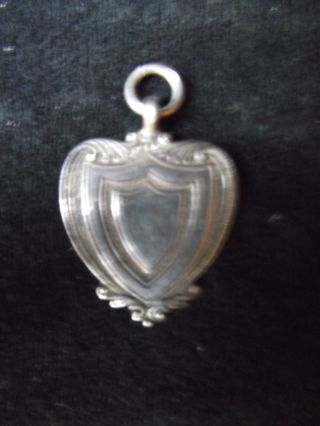 A Vintage Solid Silver Watch Chain Sheild Fob photo