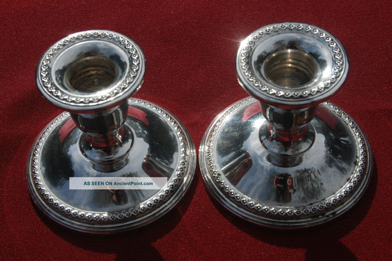 Sterling Pair Of Candle Holders - Rogers 201 - No Monograms Candlesticks & Candelabra photo