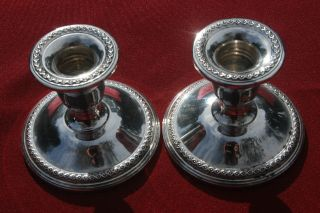 Sterling Pair Of Candle Holders - Rogers 201 - No Monograms photo