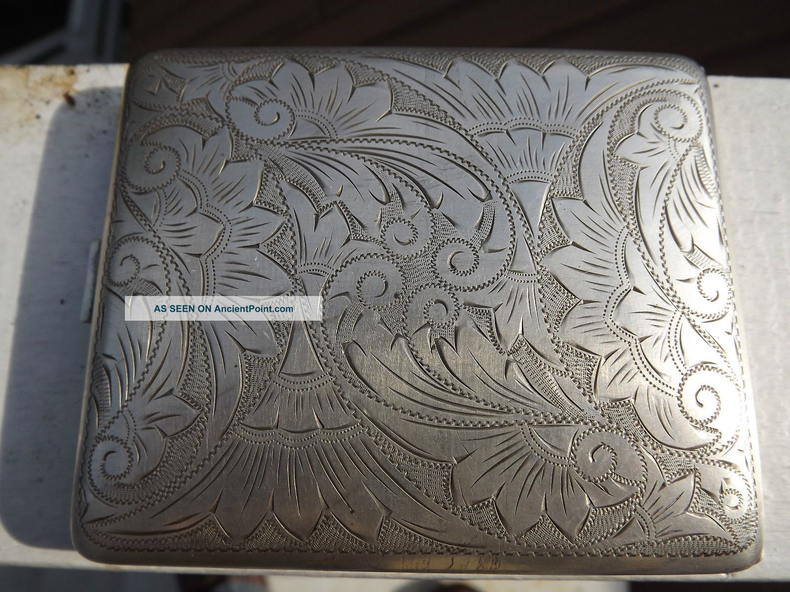 Ww2 Us Zone Germany 835 Silver Cigarette Case Detailed Engraving Map Floral Wwii Silver Alloys (.800-.899) photo