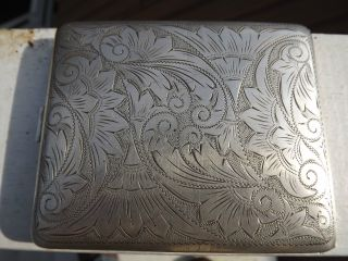 Ww2 Us Zone Germany 835 Silver Cigarette Case Detailed Engraving Map Floral Wwii photo