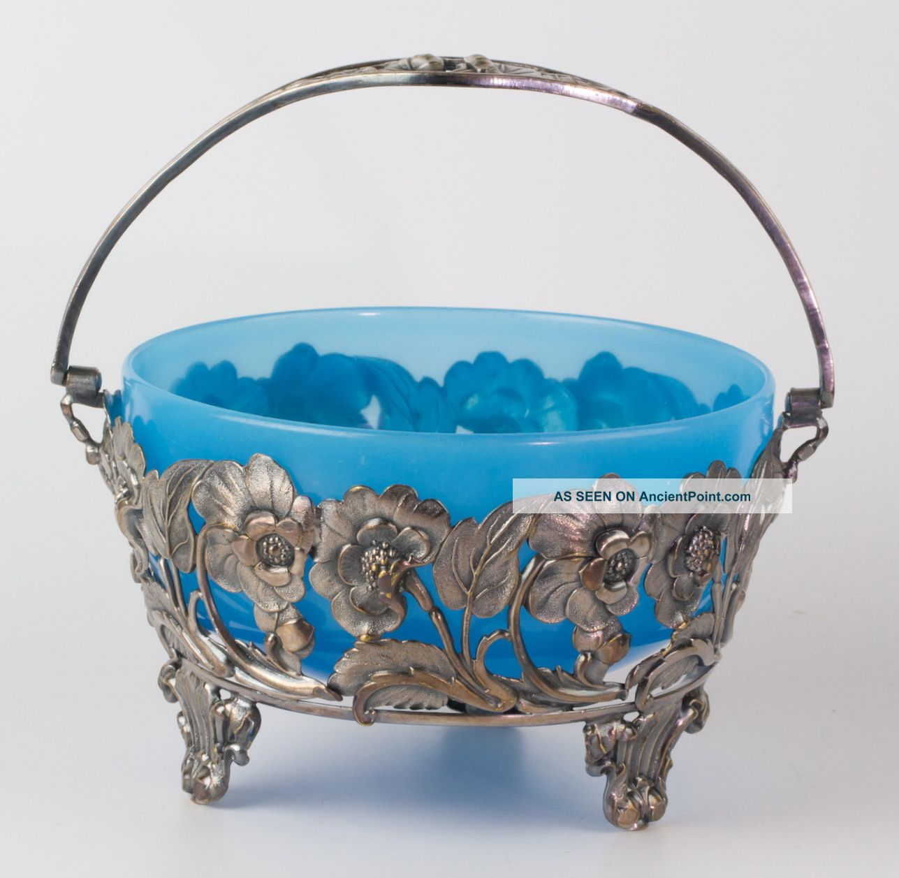 Antique Victorian Blue Turquoise Glass Bowl In Repousse Silver Frame Gorgeous Bowls photo