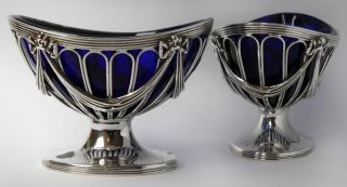 Robert Adam Style Sterling Silver Salt Cellars - London 1903 photo