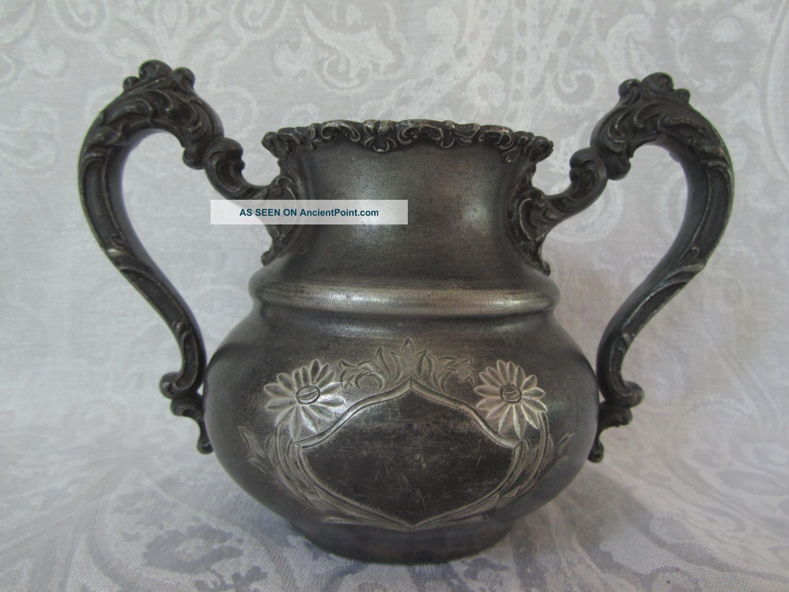 Antique Victorian Silver Spooner Ornate Handeled Design Quadruplate By Wallace Pitchers & Jugs photo