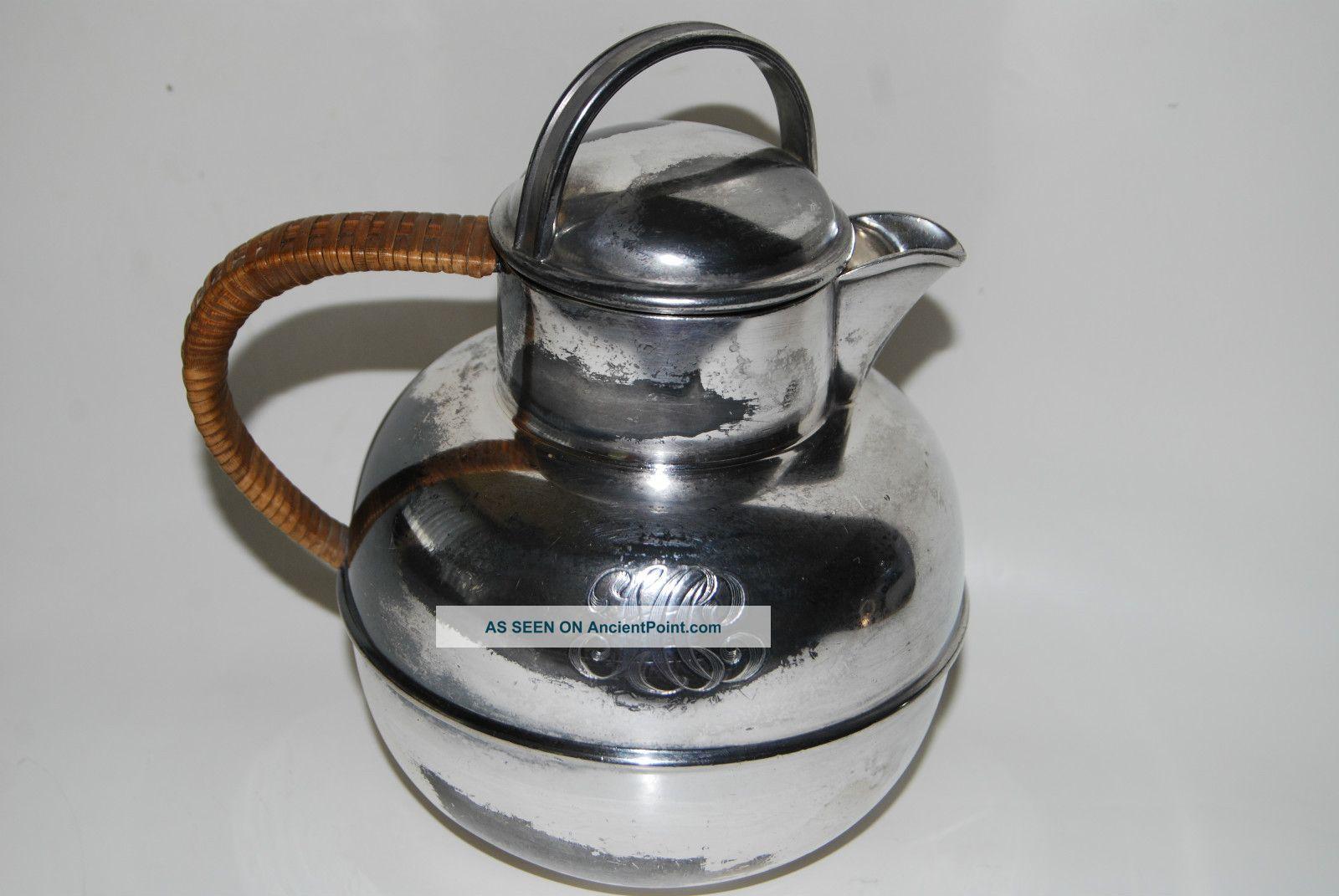 Vintage Wilcox Silver Plated Tea Kettle - Pot Monogram Initials Tea/Coffee Pots & Sets photo