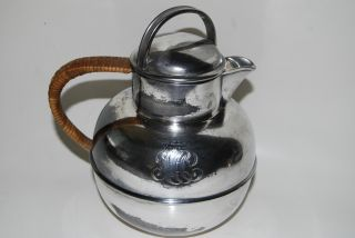 Vintage Wilcox Silver Plated Tea Kettle - Pot Monogram Initials photo