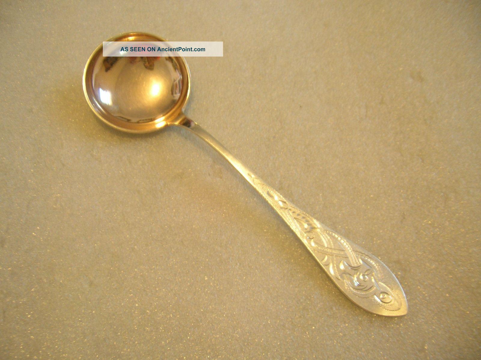 Norway Brite Cut Pattern Cream Soup Spoon Goldwashed Bowl 830 Silver 1930 ' S Scandinavia photo