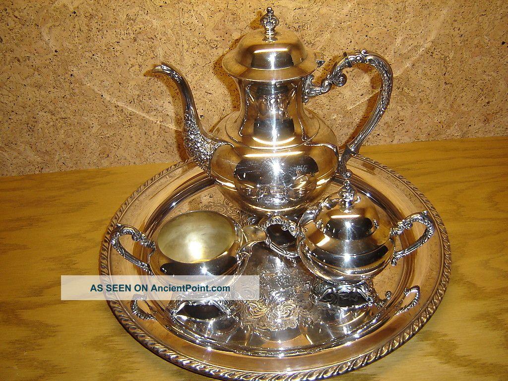 Vintage Wm A Rogers 4 Piece Silver Plate Tea Coffee Set Tea/Coffee Pots & Sets photo