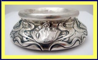 Antique Art Nouveau St Silver Open Salt Cellar By Shiebler Large W Poppy (5066) photo