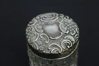 Silver Topped Dressing Table Jar / Trinket Box - Birmingham 1900 photo