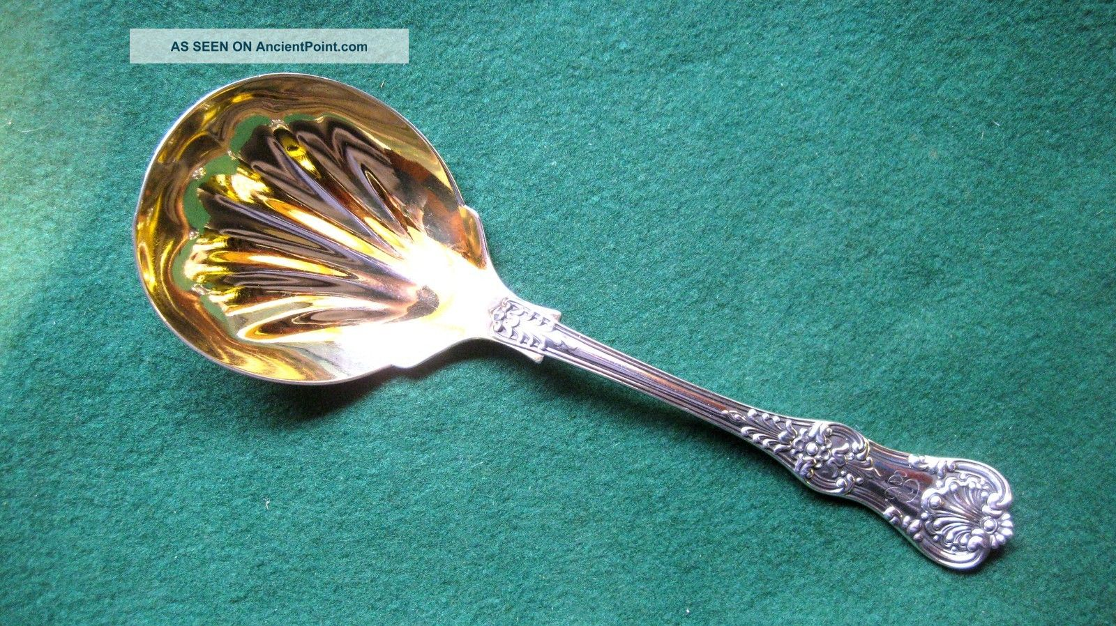 Solid Silver Serving Spoon - - Tiffany - - 19th.  Century - - 1885 - - Kings Pattern Other photo