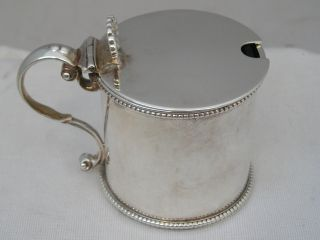 Magnificent Houle 1870 Victorian Silver Mustard Pot Blue Glass Liner 91g photo