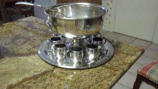 Silver Plated Punch Bowl Set photo