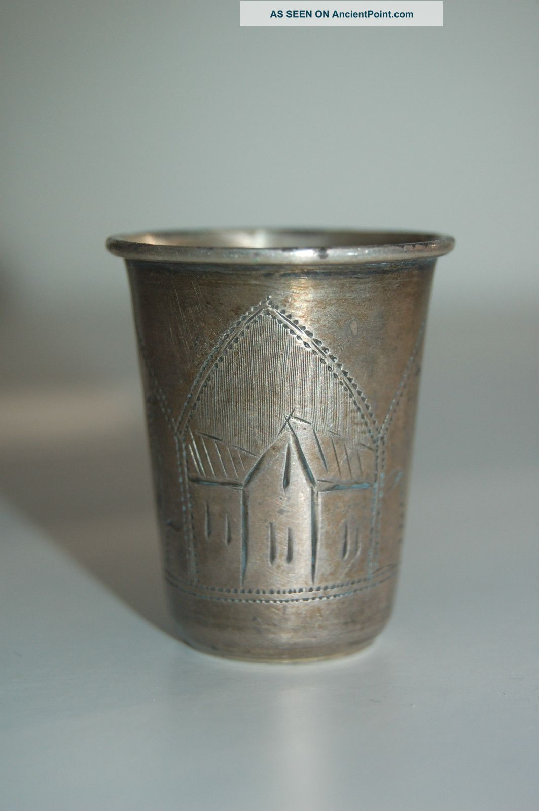Antique 84 Silver Russian Vodka Shot Glass - Hand Engraved + Signed Russia photo