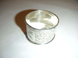 Antique Silver Napkin Ring With Flower Engraved Design 1900 photo