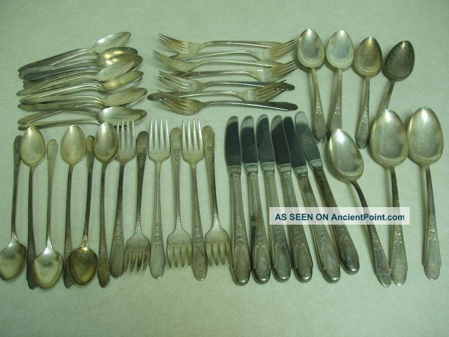 Wm Rogers & Son Is Rose Plated 49 Pcs Oneida/Wm. A. Rogers photo