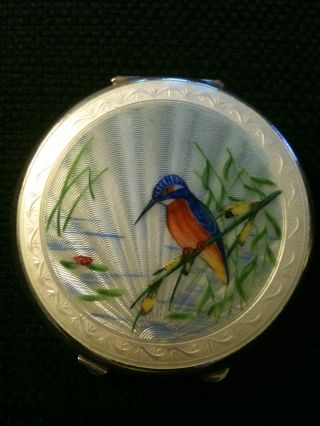Silver & Enamel Guilloche Compact + Mirror - Birmingham Hallmark Joseph Gloster photo