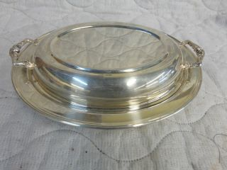 W & S Blackinton Silverplate Serving Tray With Glasbake 550 Insert photo