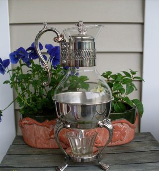 Vintage Fb Rogers Glass And Silverplate Carafe photo