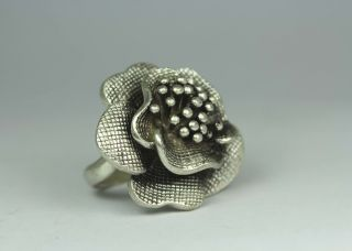 Chinese Old Silver - Plated Wonderful Handwork Hammered Flower Ring photo