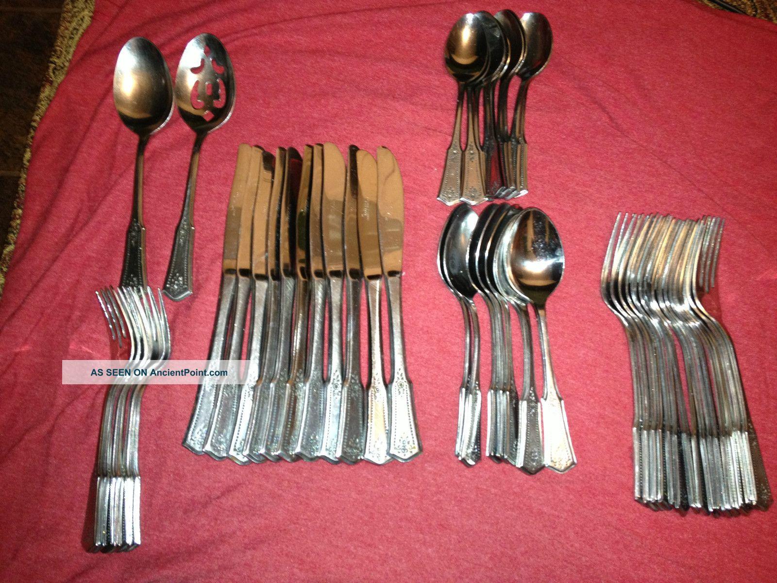Vintage Rogers Stainless Steel Flatware Korea Brentwood (52) Piece Set Mint Oneida/Wm. A. Rogers photo