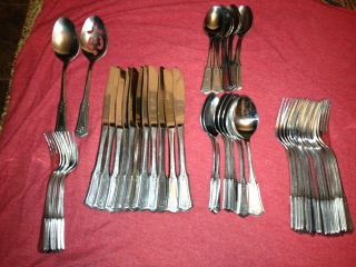 Vintage Rogers Stainless Steel Flatware Korea Brentwood (52) Piece Set Mint photo