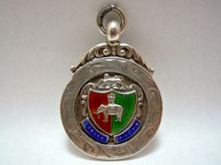 Antique Solid Sterling Silver & Enamel Pocket Watch Fob Medal photo