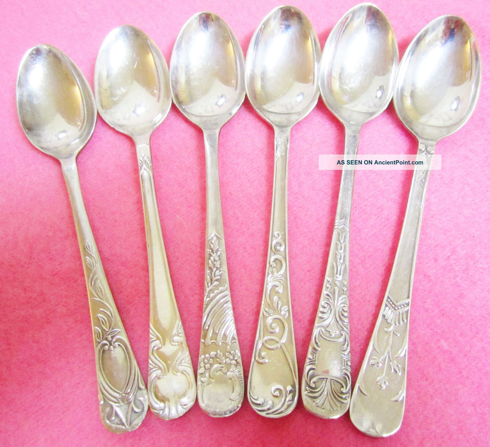 6 English Demitasse Spoons Vintage - Antique Silverware - Flatware Other photo