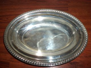Vintage Silver Plate Oval Serving Casserole Bowl photo