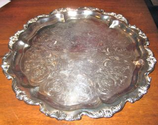 Vintageroyal Rose By Wallace Silver Plated Serving Platter 9820 Intricate Design photo