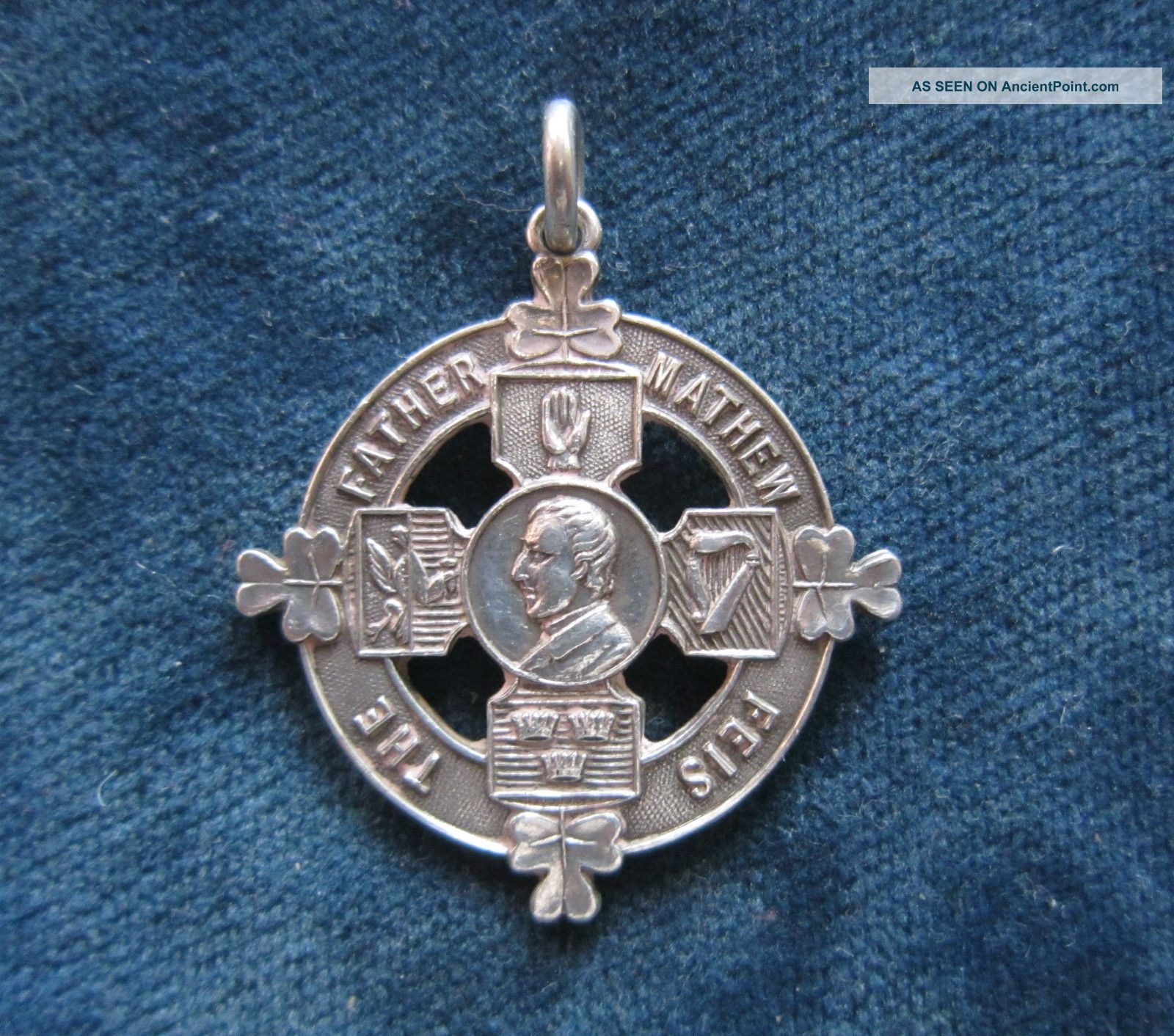 Antique Solid Silver Fob Medal - The Father Mathew Feis - Dublin 1921 Pocket Watches/ Chains/ Fobs photo