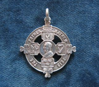 Antique Solid Silver Fob Medal - The Father Mathew Feis - Dublin 1921 photo