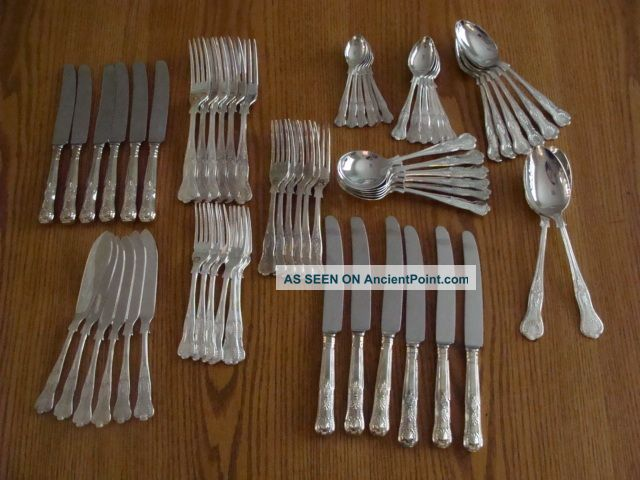 62 Pcs Kings Sheffield England Silver Plate Flatware Collection Epns A1 Look Sheffield photo