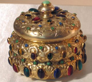 French C.  1880 Sterling Gilt Repousse ' Multi Jewelled Box photo