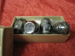 Vintage Set Of 4 Miniature Table Salt & Pepper Shakers Wm A.  Rogers Origial Box photo