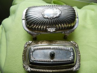 Set Of Two Vintage Silverplate Butter Dishes (fb Rogers) photo