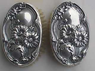 Antique Webster Sterling Pair Military Brushes Daisies photo