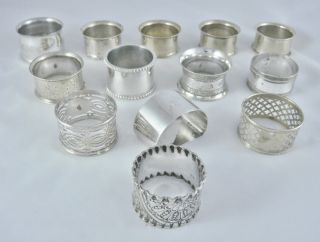 Good Job Lot Collection 13 Antique Vintage Silver Plate Epns Ornate Napkin Rings photo